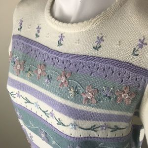 Striped Sweater with Ribbon and Bead Flowers